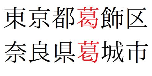 東京都葛飾区の「葛」と奈良県葛城市の「葛」